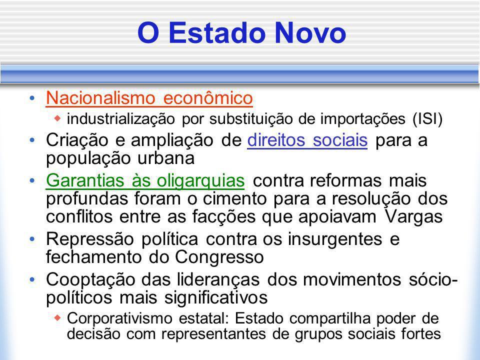 O Estado Novo Nacionalismo econômico industrialização por substituição de importações (ISI) Criação e ampliação de direitos sociais para a população u