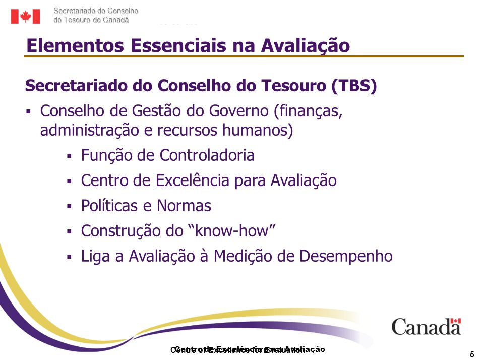 Secretariado do Conselho do Tesouro do Canadá Centro de Excelência para Avaliação Centre of Excellence for Evaluation 5 Secretariado do Conselho do Te