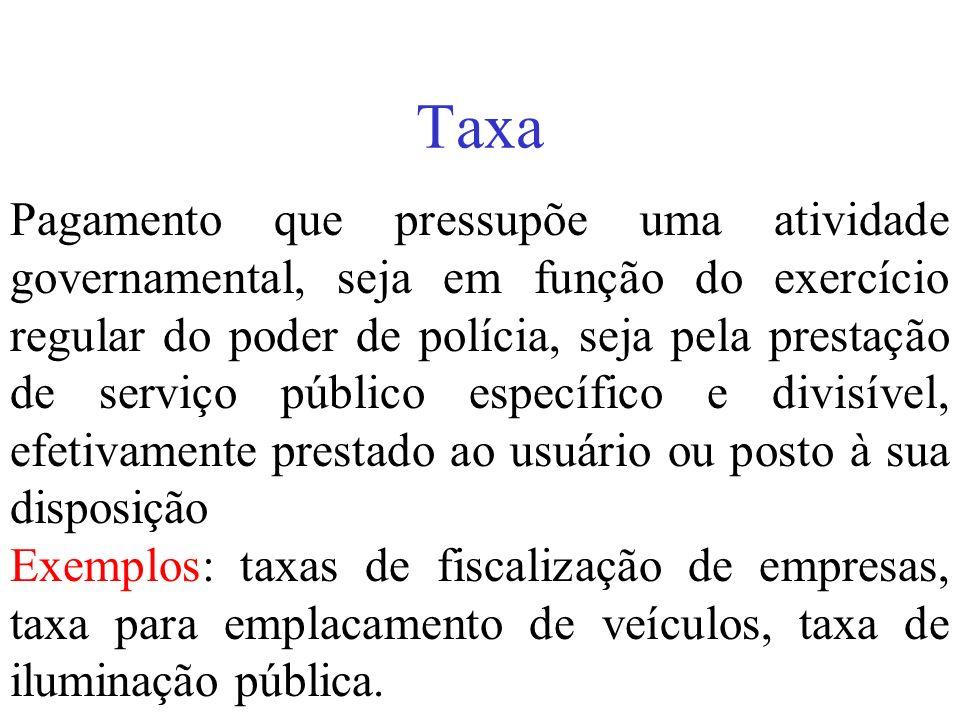 Taxa Pagamento que pressupõe uma atividade governamental, seja em função do exercício regular do poder de polícia, seja pela prestação de serviço públ