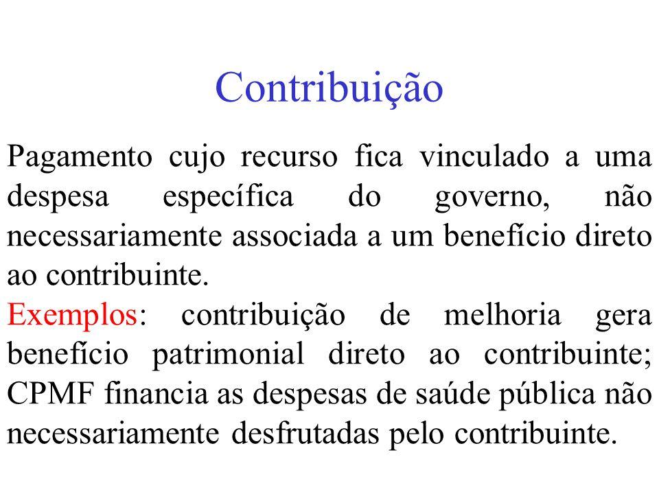 Contribuição Pagamento cujo recurso fica vinculado a uma despesa específica do governo, não necessariamente associada a um benefício direto ao contrib