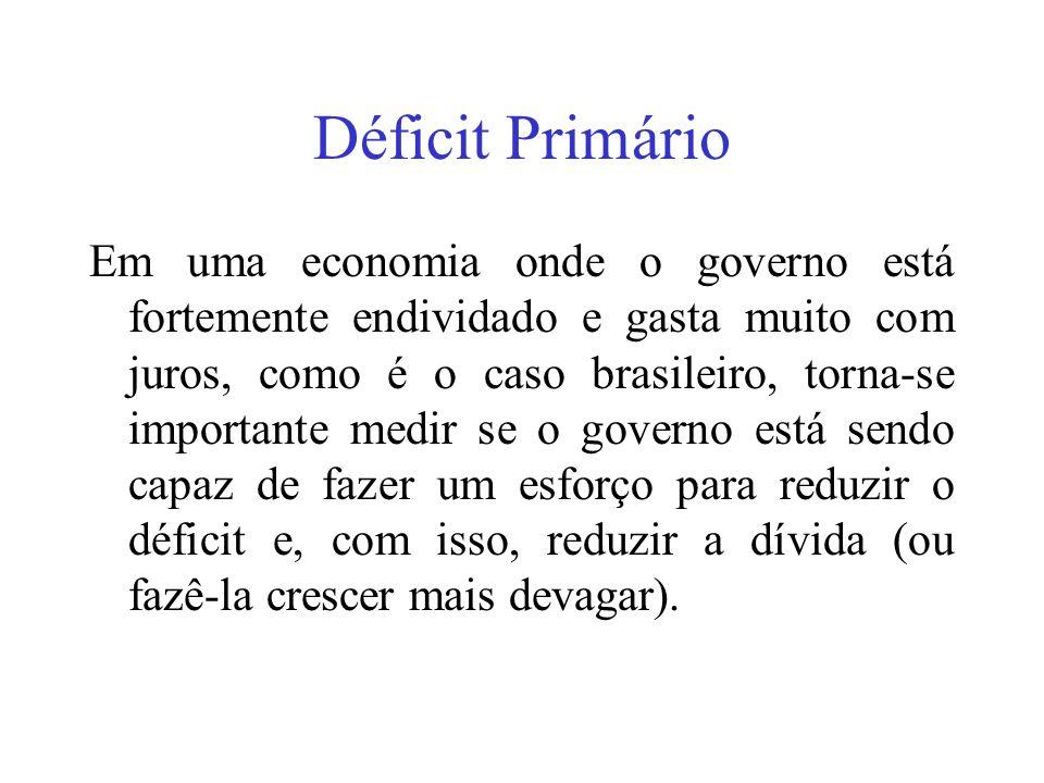 Déficit Primário Em uma economia onde o governo está fortemente endividado e gasta muito com juros, como é o caso brasileiro, torna-se importante medi