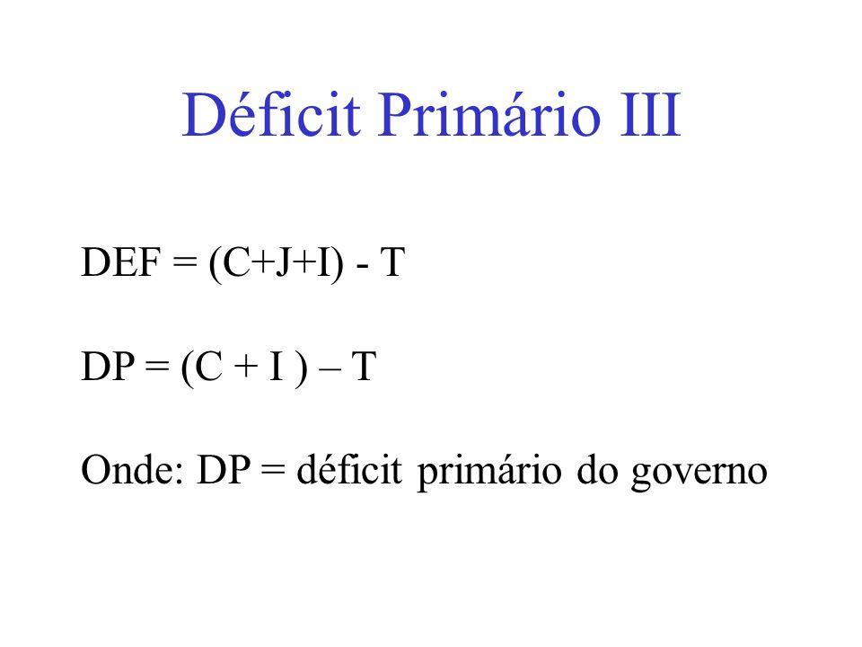 Déficit Primário III DEF = (C+J+I) - T DP = (C + I ) – T Onde: DP = déficit primário do governo