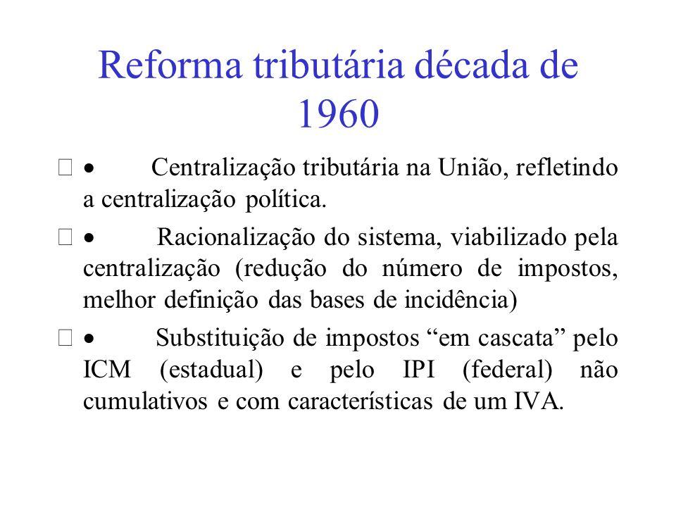 Reforma tributária década de 1960 Centralização tributária na União, refletindo a centralização política. Racionalização do sistema, viabilizado pela