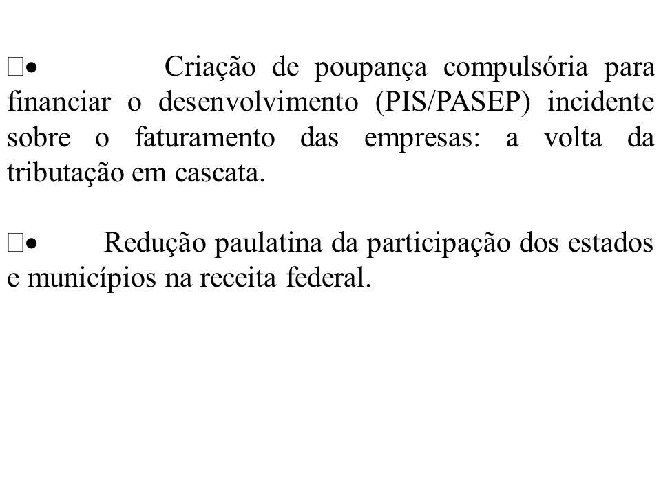 Criação de poupança compulsória para financiar o desenvolvimento (PIS/PASEP) incidente sobre o faturamento das empresas: a volta da tributação em casc