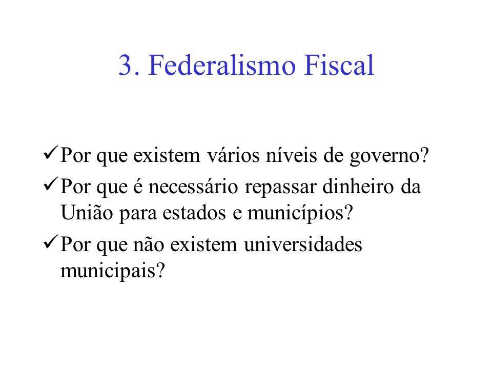 3. Federalismo Fiscal Por que existem vários níveis de governo? Por que é necessário repassar dinheiro da União para estados e municípios? Por que não