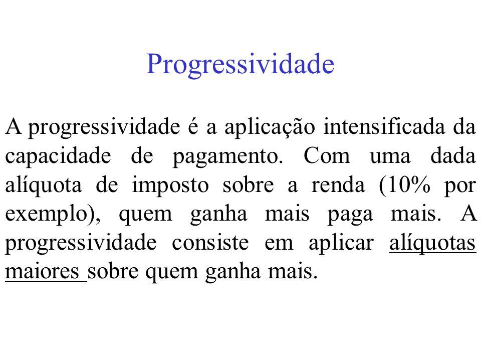 Progressividade A progressividade é a aplicação intensificada da capacidade de pagamento. Com uma dada alíquota de imposto sobre a renda (10% por exem