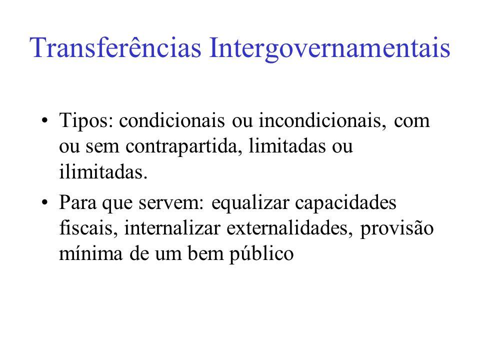 Transferências Intergovernamentais Tipos: condicionais ou incondicionais, com ou sem contrapartida, limitadas ou ilimitadas. Para que servem: equaliza