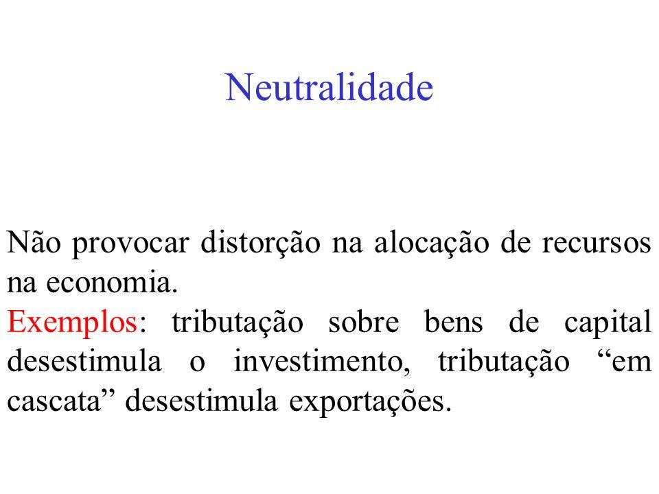 Neutralidade Não provocar distorção na alocação de recursos na economia. Exemplos: tributação sobre bens de capital desestimula o investimento, tribut