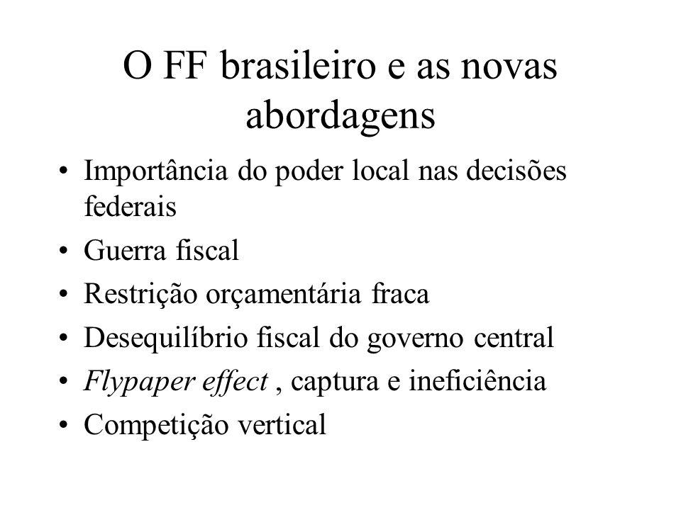 O FF brasileiro e as novas abordagens Importância do poder local nas decisões federais Guerra fiscal Restrição orçamentária fraca Desequilíbrio fiscal