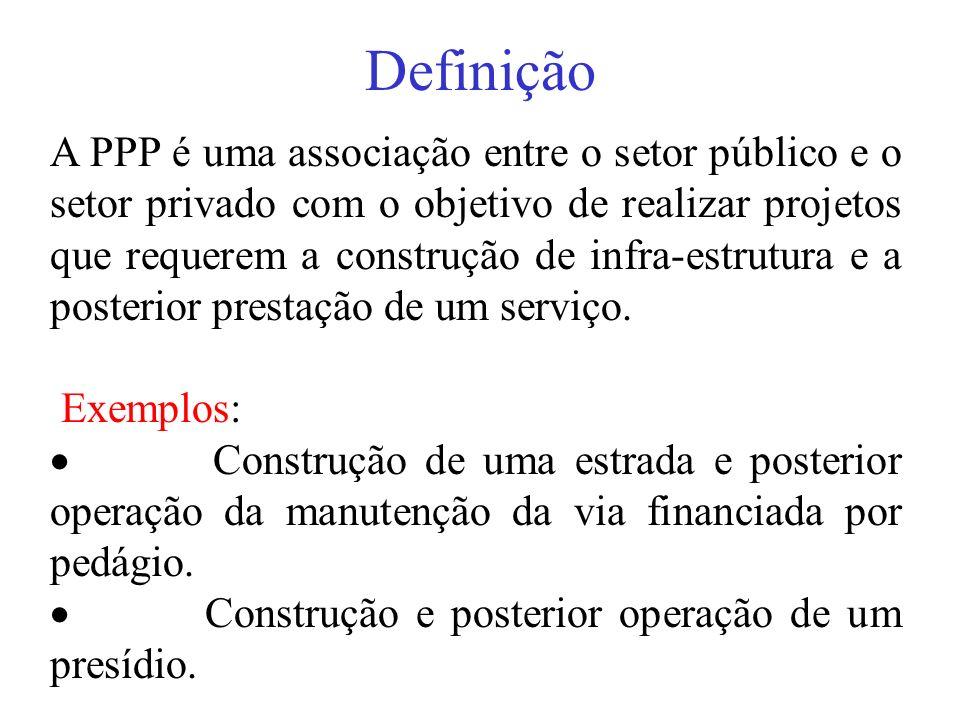 Definição A PPP é uma associação entre o setor público e o setor privado com o objetivo de realizar projetos que requerem a construção de infra-estrut