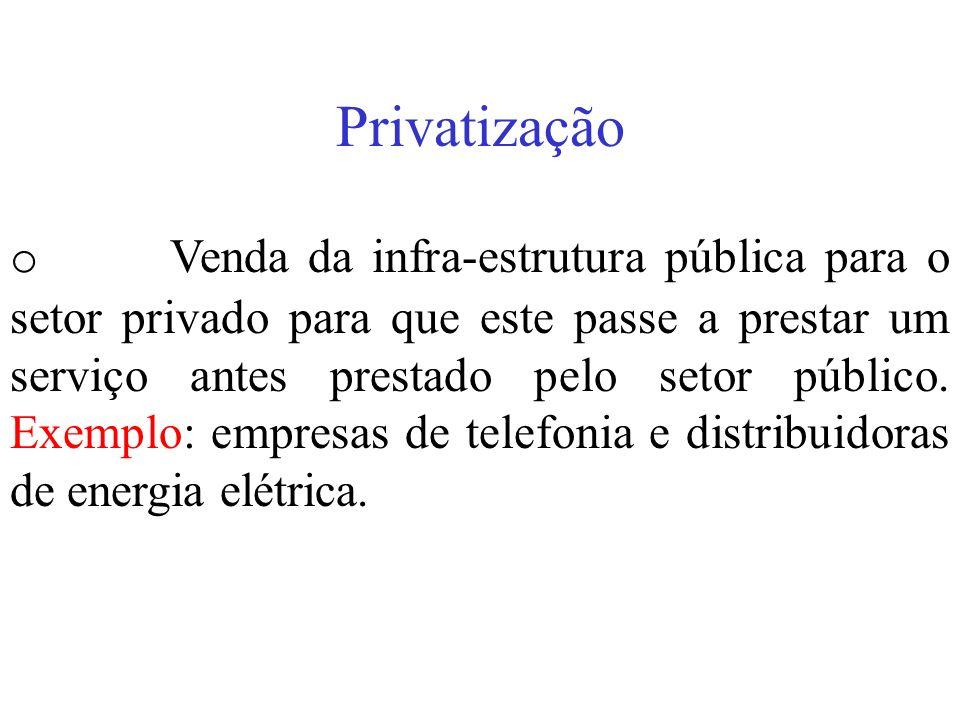 Privatização o Venda da infra-estrutura pública para o setor privado para que este passe a prestar um serviço antes prestado pelo setor público. Exemp