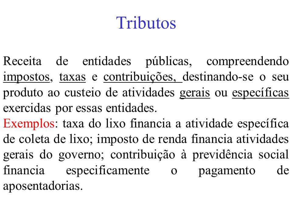 Tributos Receita de entidades públicas, compreendendo impostos, taxas e contribuições, destinando-se o seu produto ao custeio de atividades gerais ou