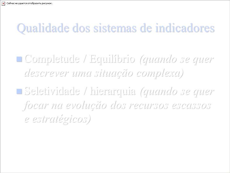 Qualidade dos sistemas de indicadores Completude / Equilíbrio (quando se quer descrever uma situação complexa) Completude / Equilíbrio (quando se quer descrever uma situação complexa) Seletividade / hierarquia (quando se quer focar na evolução dos recursos escassos e estratégicos) Seletividade / hierarquia (quando se quer focar na evolução dos recursos escassos e estratégicos)