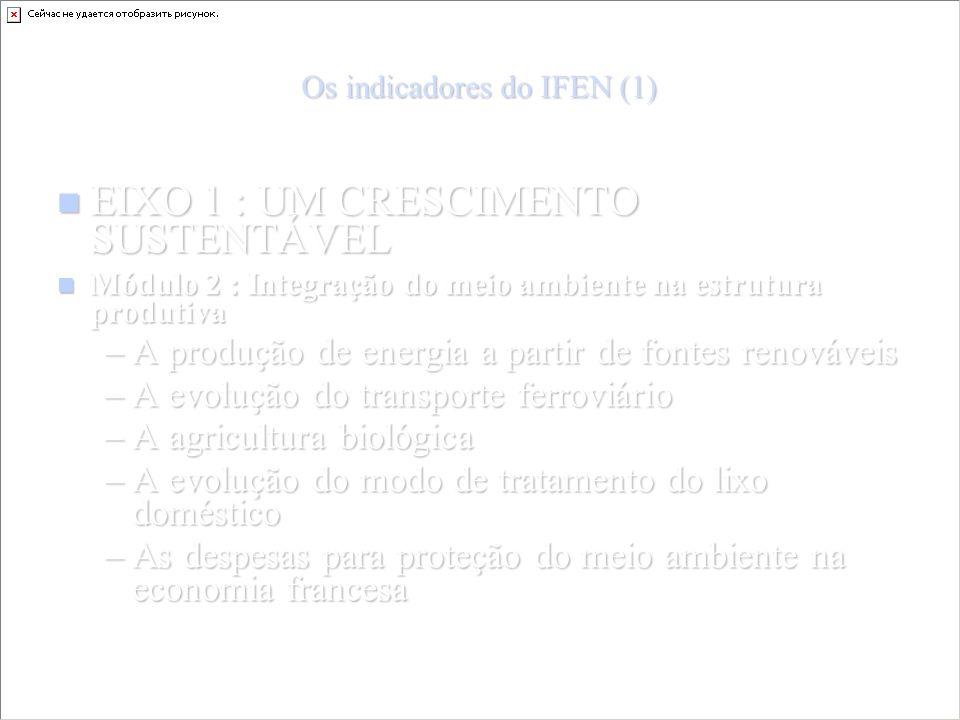 Os indicadores do IFEN (1) EIXO 1 : UM CRESCIMENTO SUSTENTÁVEL EIXO 1 : UM CRESCIMENTO SUSTENTÁVEL Módulo 2 : Integração do meio ambiente na estrutura produtiva Módulo 2 : Integração do meio ambiente na estrutura produtiva –A produção de energia a partir de fontes renováveis –A evolução do transporte ferroviário –A agricultura biológica –A evolução do modo de tratamento do lixo doméstico –As despesas para proteção do meio ambiente na economia francesa