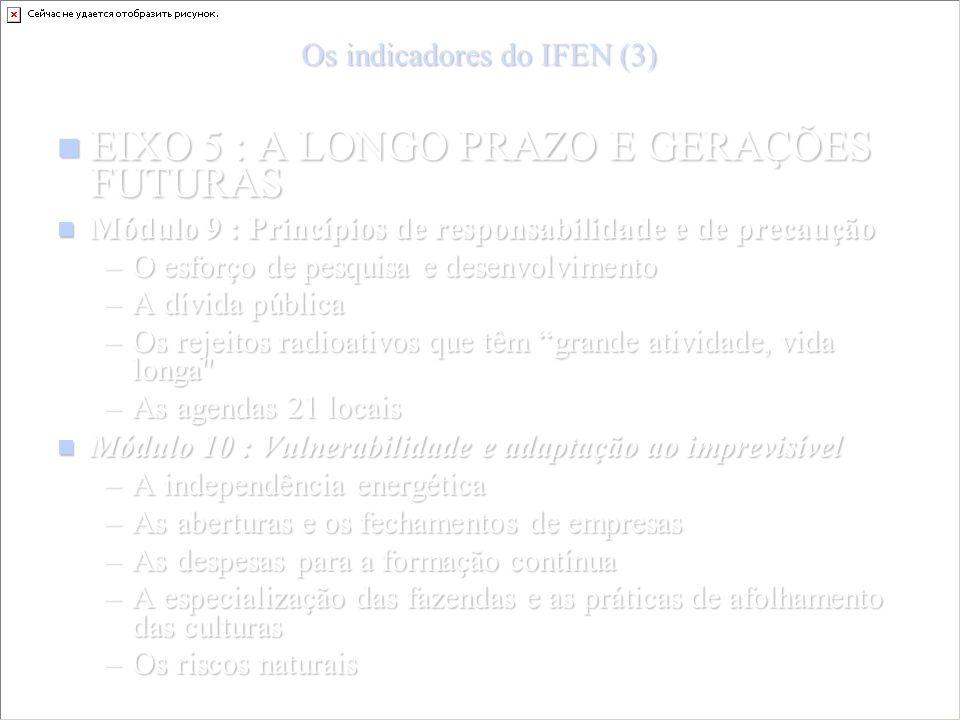 Os indicadores do IFEN (3) EIXO 5 : A LONGO PRAZO E GERAÇÕES FUTURAS EIXO 5 : A LONGO PRAZO E GERAÇÕES FUTURAS Módulo 9 : Princípios de responsabilidade e de precaução Módulo 9 : Princípios de responsabilidade e de precaução –O esforço de pesquisa e desenvolvimento –A dívida pública –Os rejeitos radioativos que têm grande atividade, vida longa –As agendas 21 locais Módulo 10 : Vulnerabilidade e adaptação ao imprevisível Módulo 10 : Vulnerabilidade e adaptação ao imprevisível –A independência energética –As aberturas e os fechamentos de empresas –As despesas para a formação contínua –A especialização das fazendas e as práticas de afolhamento das culturas –Os riscos naturais