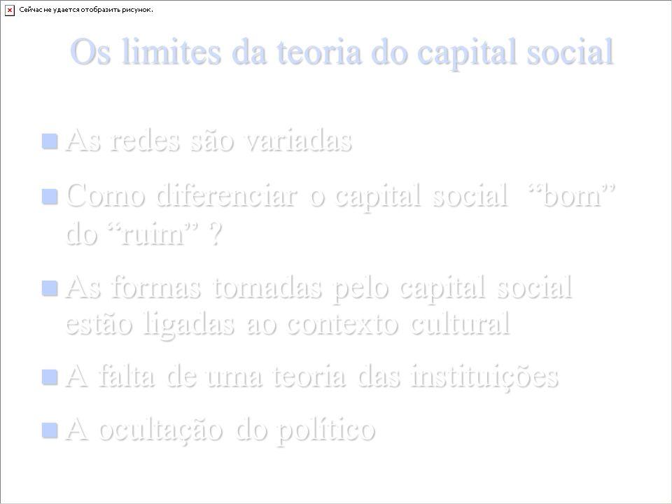 Os limites da teoria do capital social As redes são variadas As redes são variadas Como diferenciar o capital social bom do ruim .