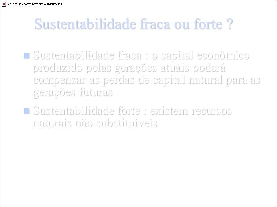 Sustentabilidade fraca ou forte .
