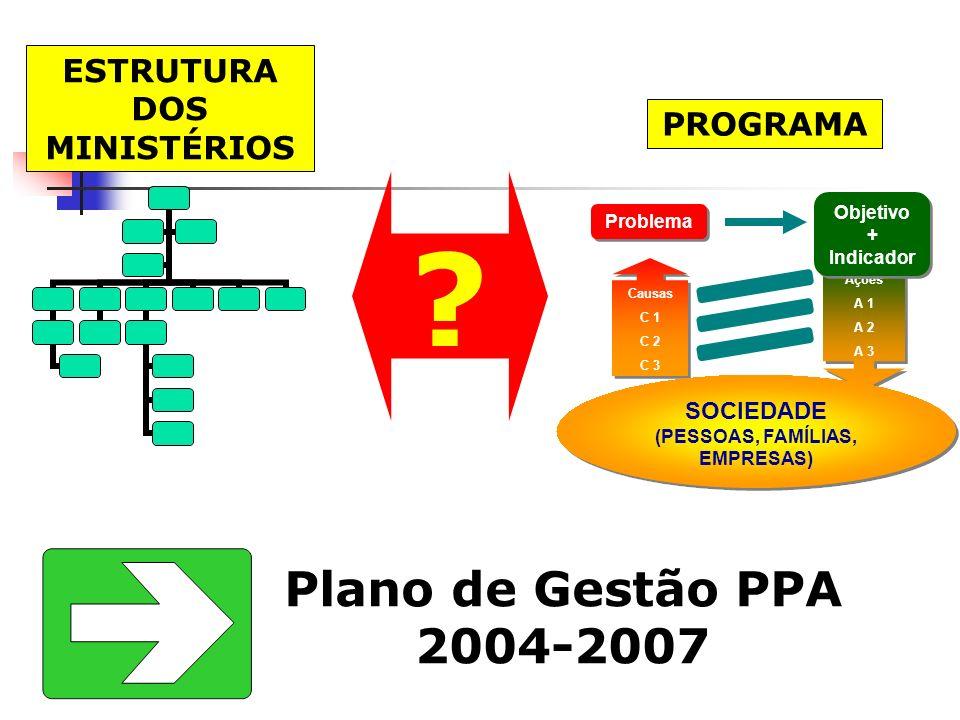 Ações A 1 A 2 A 3 Ações A 1 A 2 A 3 Problema Causas C 1 C 2 C 3 Causas C 1 C 2 C 3 SOCIEDADE (PESSOAS, FAMÍLIAS, EMPRESAS) SOCIEDADE (PESSOAS, FAMÍLIA