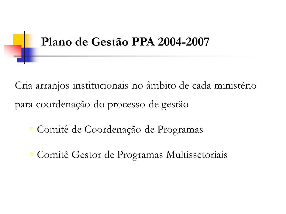 Cria arranjos institucionais no âmbito de cada ministério para coordenação do processo de gestão Comitê de Coordenação de Programas Comitê Gestor de P