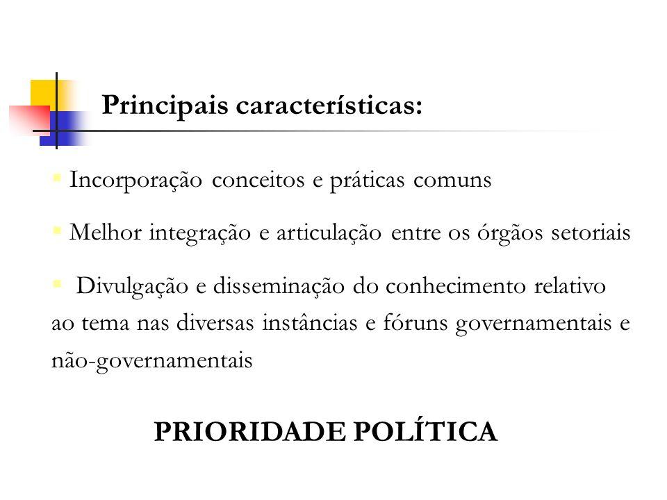 Principais características: Incorporação conceitos e práticas comuns Melhor integração e articulação entre os órgãos setoriais Divulgação e disseminaç