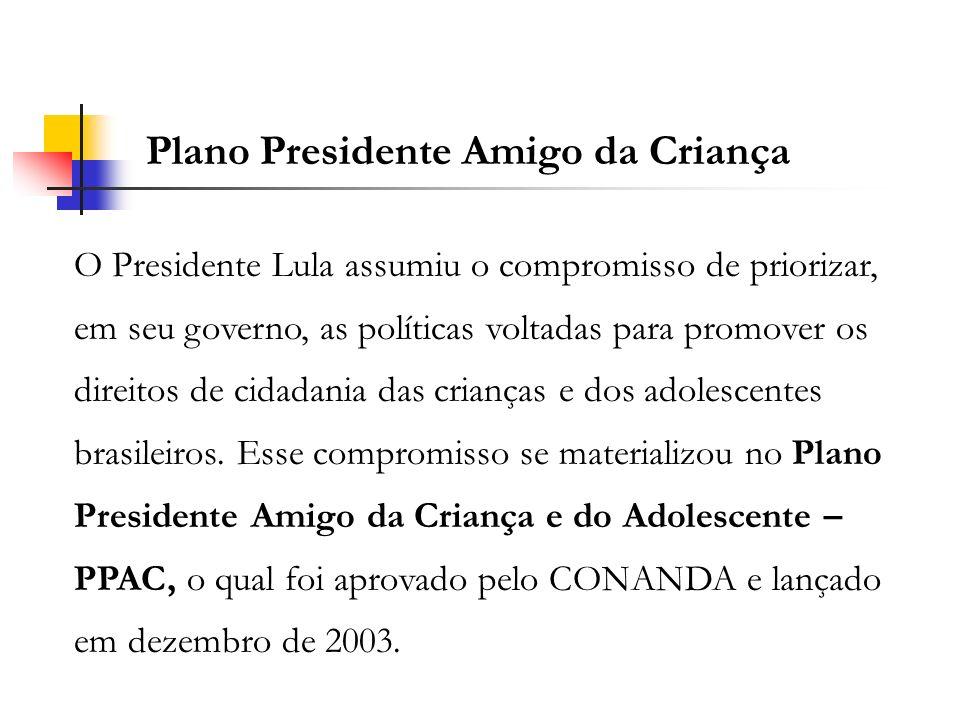 O Presidente Lula assumiu o compromisso de priorizar, em seu governo, as políticas voltadas para promover os direitos de cidadania das crianças e dos