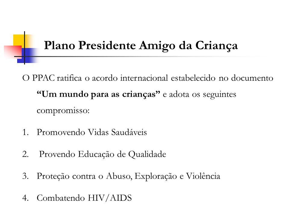 Plano Presidente Amigo da Criança O PPAC ratifica o acordo internacional estabelecido no documento Um mundo para as crianças e adota os seguintes comp