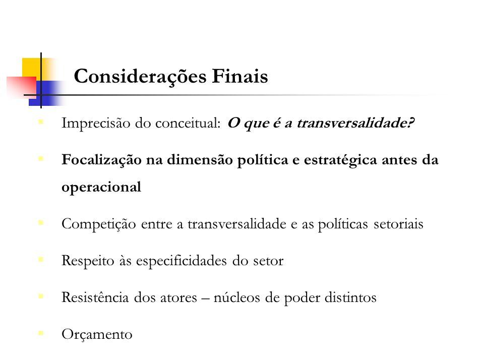 Imprecisão do conceitual: O que é a transversalidade? Focalização na dimensão política e estratégica antes da operacional Competição entre a transvers