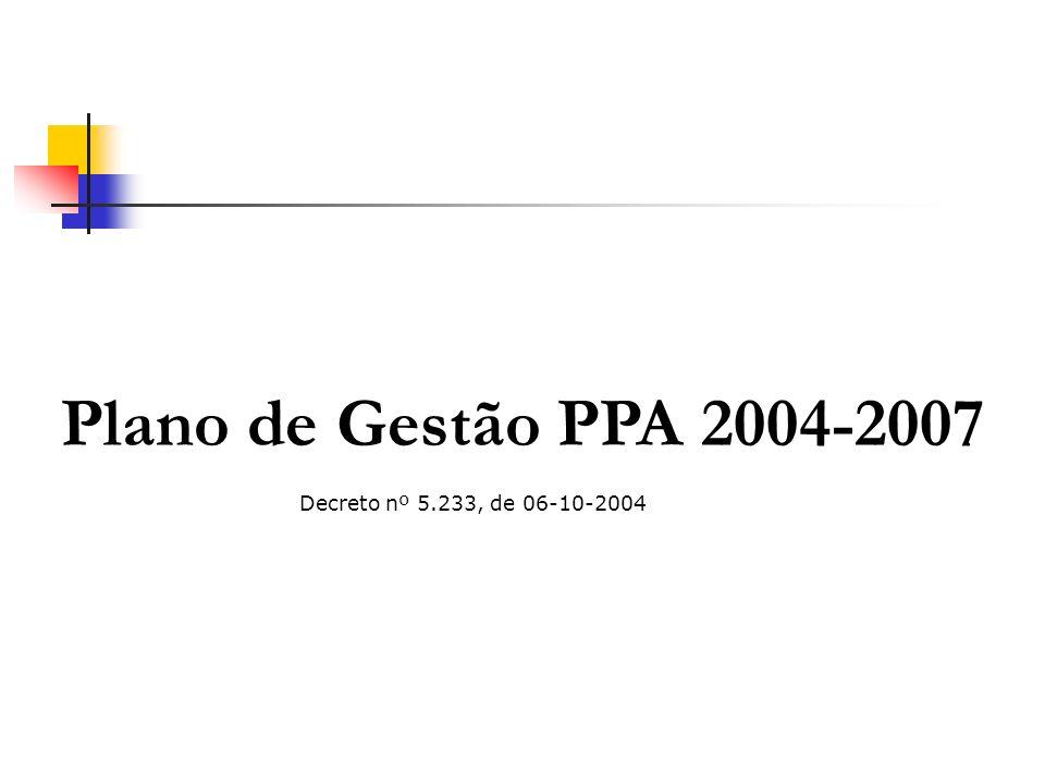 O Modelo de Gestão do PPA 2004-2007 Construir uma gestão orientada para resultados Viabilizar uma gestão colegiada, participativa e ágil Propiciar mecanismos para tomada de decisões estratégicas e operacionais Melhorar a utilização, a qualidade e a confiabilidade das informações geradas Propiciar a inserção da gestão dos Programas nos processos da organização de forma a traduzir as políticas públicas