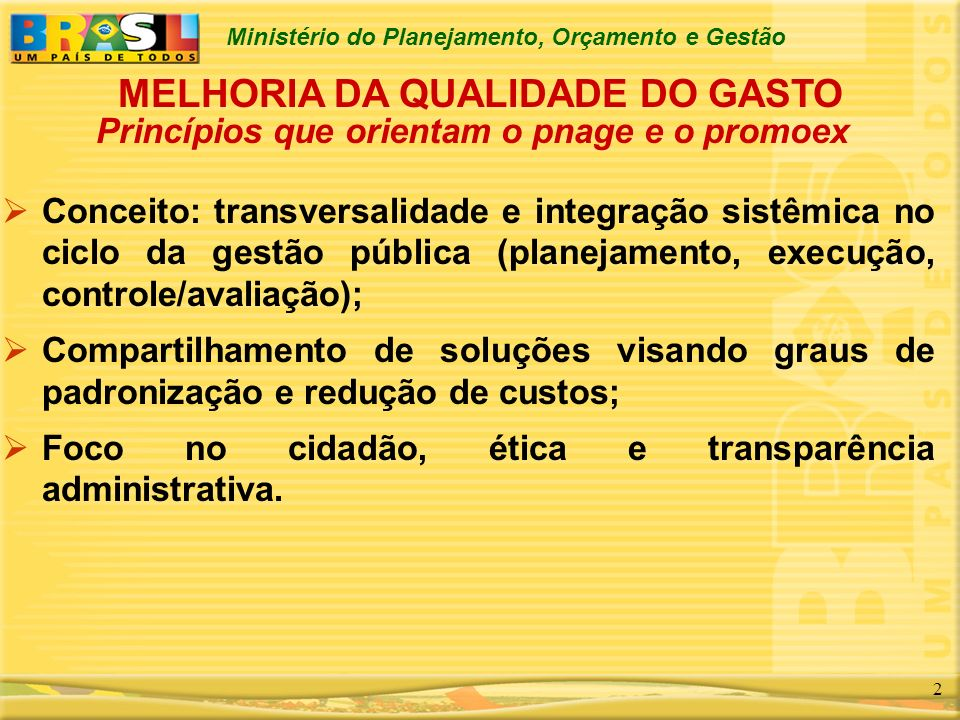 Ministério do Planejamento, Orçamento e Gestão 3 Mutuária: República Federativa do Brasil / Ministério do Planejamento, Orçamento e Gestão; Entidade Financiadora: Banco Interamericano de desenvolvimento - BID; Valor total do Programa em duas fases: US$ 121.400.000,00; Valor do Financiamento: 60%; Contrapartida: União (6%) e Tribunais de Contas (34%); PROMOEX - CARACTERIZAÇÃO
