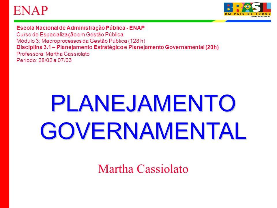 1 PLANEJAMENTOGOVERNAMENTAL Martha Cassiolato Escola Nacional de Administração Pública - ENAP Curso de Especialização em Gestão Pública Módulo 3: Macr