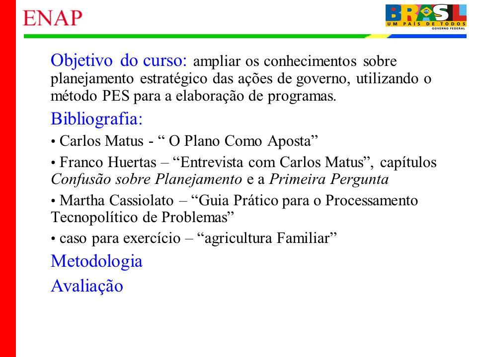 2 Objetivo do curso: ampliar os conhecimentos sobre planejamento estratégico das ações de governo, utilizando o método PES para a elaboração de progra