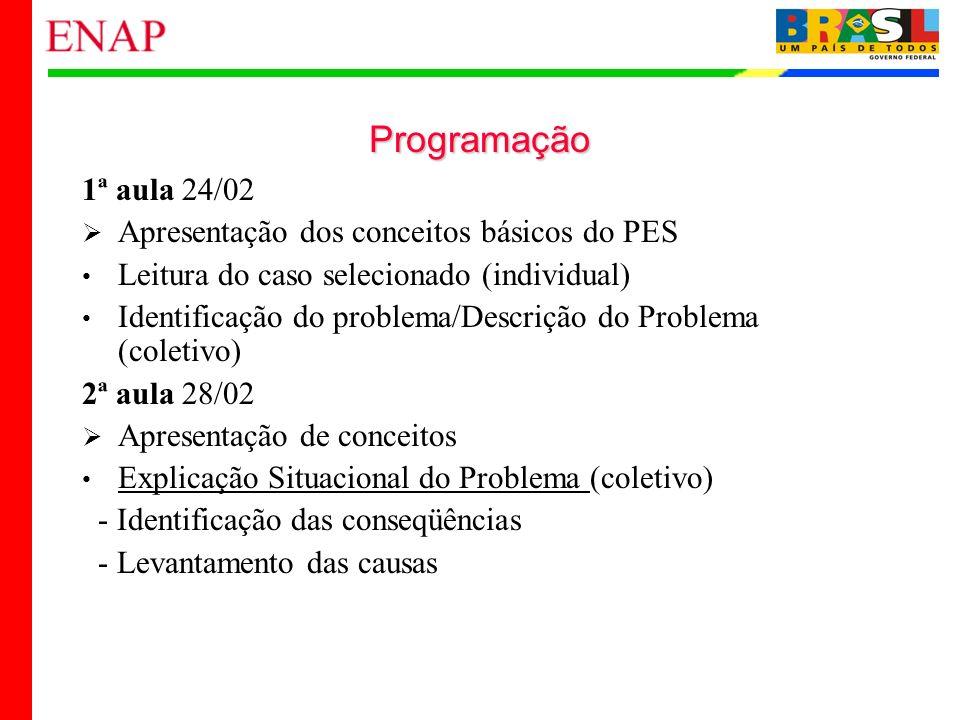 3 Programação 1ª aula 24/02 Apresentação dos conceitos básicos do PES Leitura do caso selecionado (individual) Identificação do problema/Descrição do