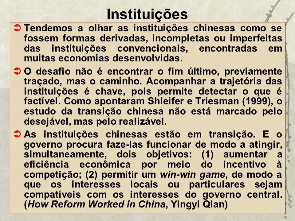 Instituições Tendemos a olhar as instituições chinesas como se fossem formas derivadas, incompletas ou imperfeitas das instituições convencionais, enc