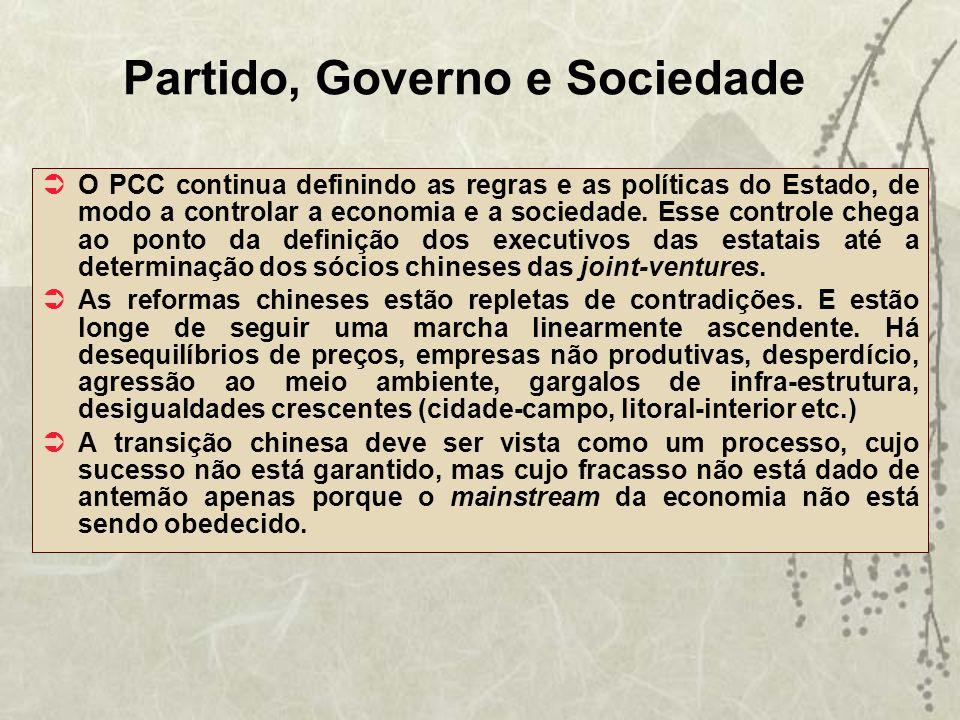 Partido, Governo e Sociedade O PCC continua definindo as regras e as políticas do Estado, de modo a controlar a economia e a sociedade. Esse controle