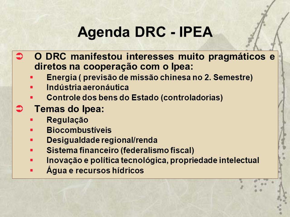 Agenda DRC - IPEA O DRC manifestou interesses muito pragmáticos e diretos na cooperação com o Ipea: Energia ( previsão de missão chinesa no 2. Semestr