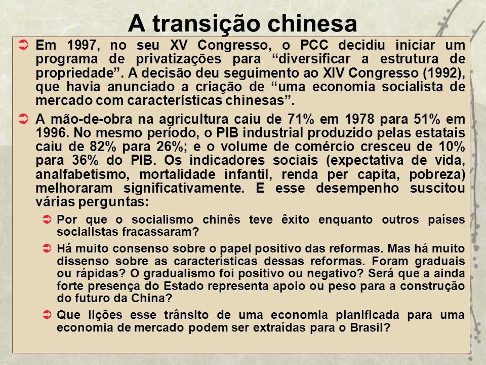 A transição chinesa Em 1997, no seu XV Congresso, o PCC decidiu iniciar um programa de privatizações para diversificar a estrutura de propriedade. A d