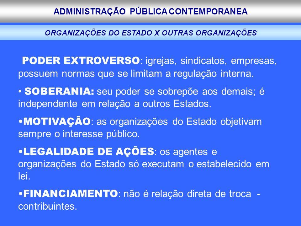 ADMINISTRAÇÃO PÚBLICA CONTEMPORANEA ORGANIZAÇÕES DO ESTADO X OUTRAS ORGANIZAÇÕES PODER EXTROVERSO : igrejas, sindicatos, empresas, possuem normas que