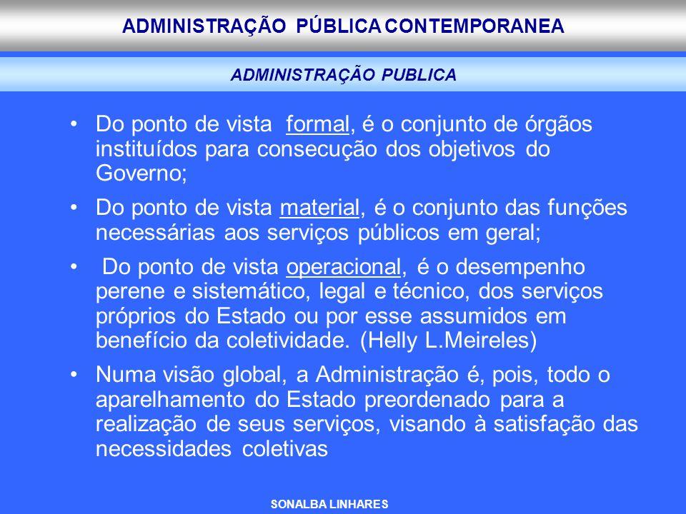 ADMINISTRAÇÃO PÚBLICA CONTEMPORANEA ADMINISTRAÇÃO PUBLICA Do ponto de vista formal, é o conjunto de órgãos instituídos para consecução dos objetivos d