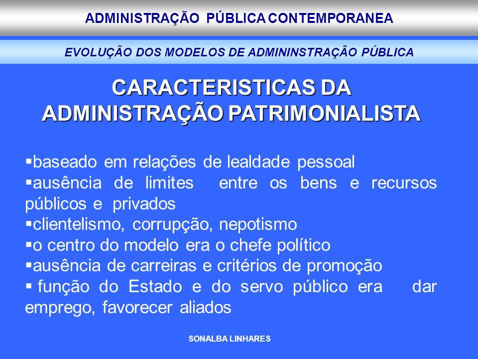 ADMINISTRAÇÃO PÚBLICA CONTEMPORANEA EVOLUÇÃO DOS MODELOS DE ADMININSTRAÇÃO PÚBLICA CARACTERISTICAS DA ADMINISTRAÇÃO PATRIMONIALISTA baseado em relaçõe