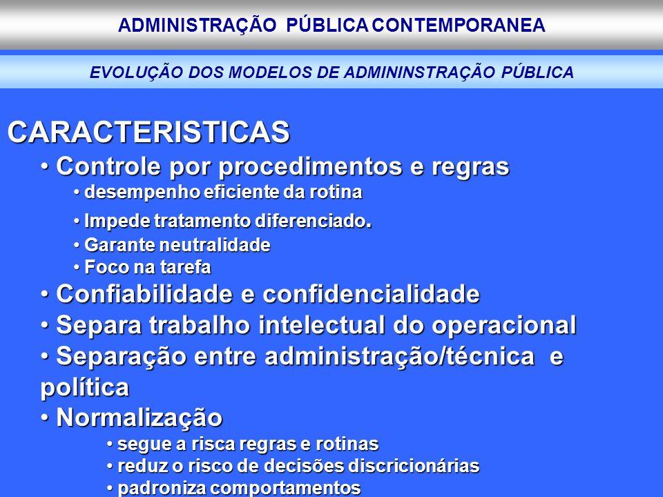 ADMINISTRAÇÃO PÚBLICA CONTEMPORANEA EVOLUÇÃO DOS MODELOS DE ADMININSTRAÇÃO PÚBLICA CARACTERISTICAS Controle por procedimentos e regras Controle por pr