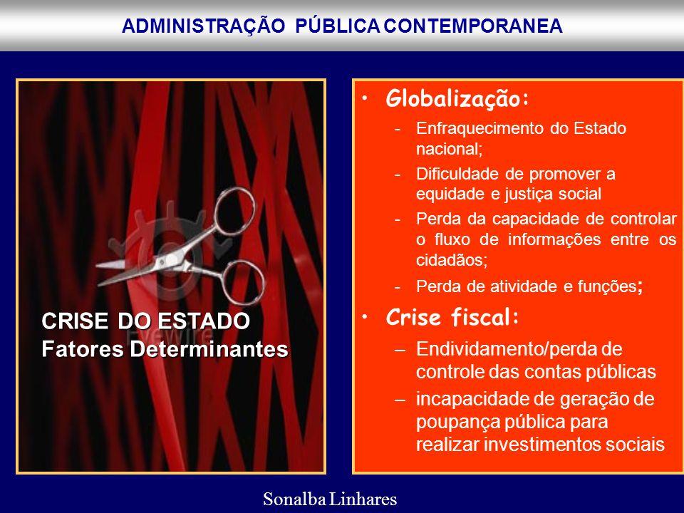 ADMINISTRAÇÃO PÚBLICA CONTEMPORANEA Globalização: -Enfraquecimento do Estado nacional; -Dificuldade de promover a equidade e justiça social -Perda da