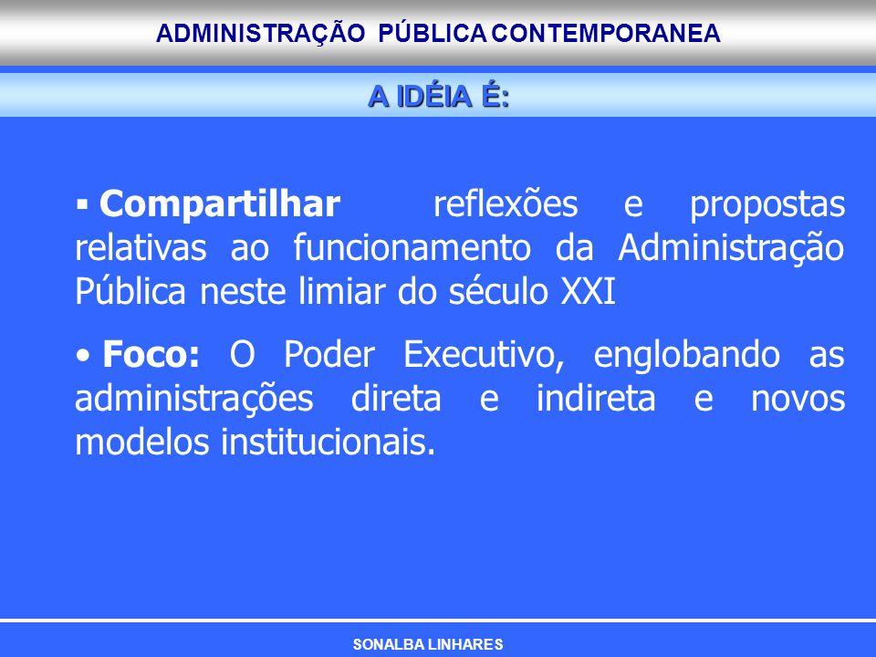 ADMINISTRAÇÃO PÚBLICA CONTEMPORANEA A IDÉIA É: Compartilhar reflexões e propostas relativas ao funcionamento da Administração Pública neste limiar do