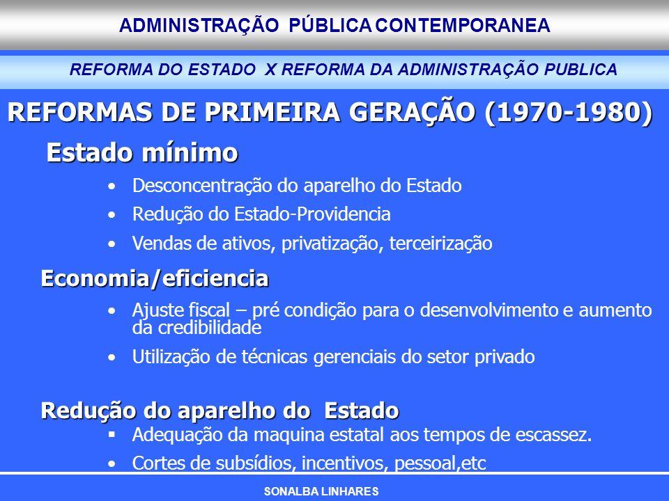 ADMINISTRAÇÃO PÚBLICA CONTEMPORANEA REFORMAS DE PRIMEIRA GERAÇÃO (1970-1980) Estado mínimo Desconcentração do aparelho do Estado Redução do Estado-Pro