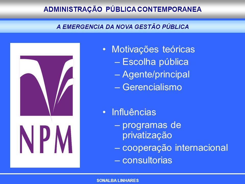 ADMINISTRAÇÃO PÚBLICA CONTEMPORANEA A EMERGENCIA DA NOVA GESTÃO PÚBLICA Motivações teóricas –Escolha pública –Agente/principal –Gerencialismo Influênc