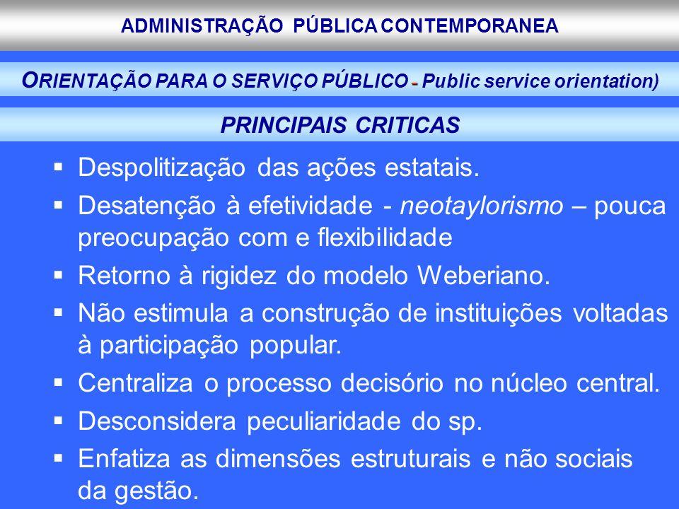 ADMINISTRAÇÃO PÚBLICA CONTEMPORANEA Despolitização das ações estatais. Desatenção à efetividade - neotaylorismo – pouca preocupação com e flexibilidad