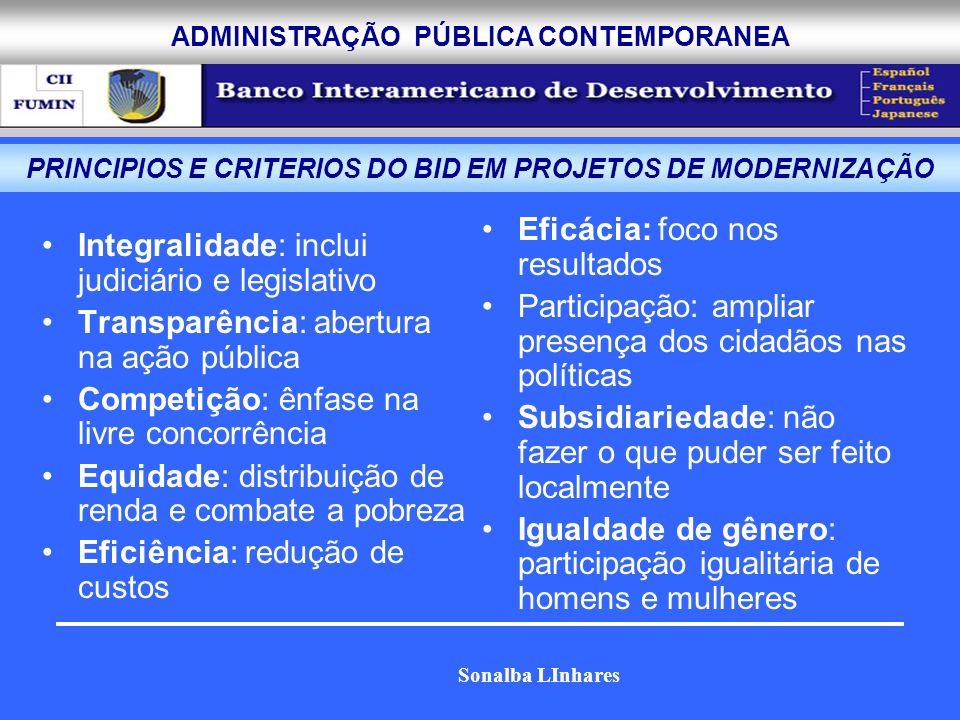 ADMINISTRAÇÃO PÚBLICA CONTEMPORANEA Integralidade: inclui judiciário e legislativo Transparência: abertura na ação pública Competição: ênfase na livre