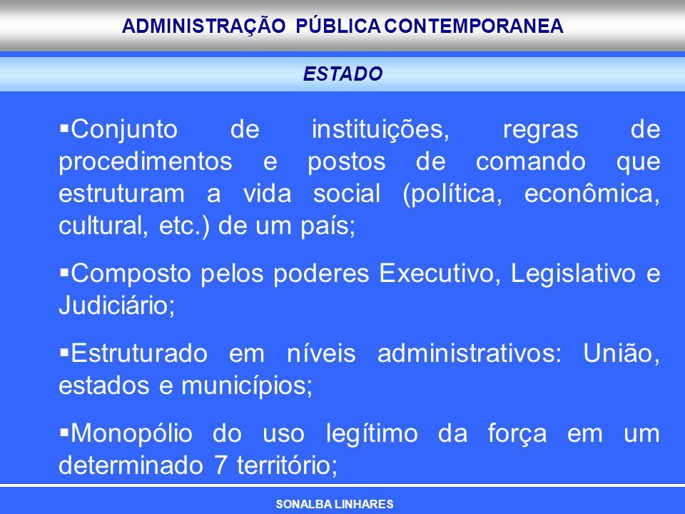 ADMINISTRAÇÃO PÚBLICA CONTEMPORANEA ESTADO Conjunto de instituições, regras de procedimentos e postos de comando que estruturam a vida social (polític