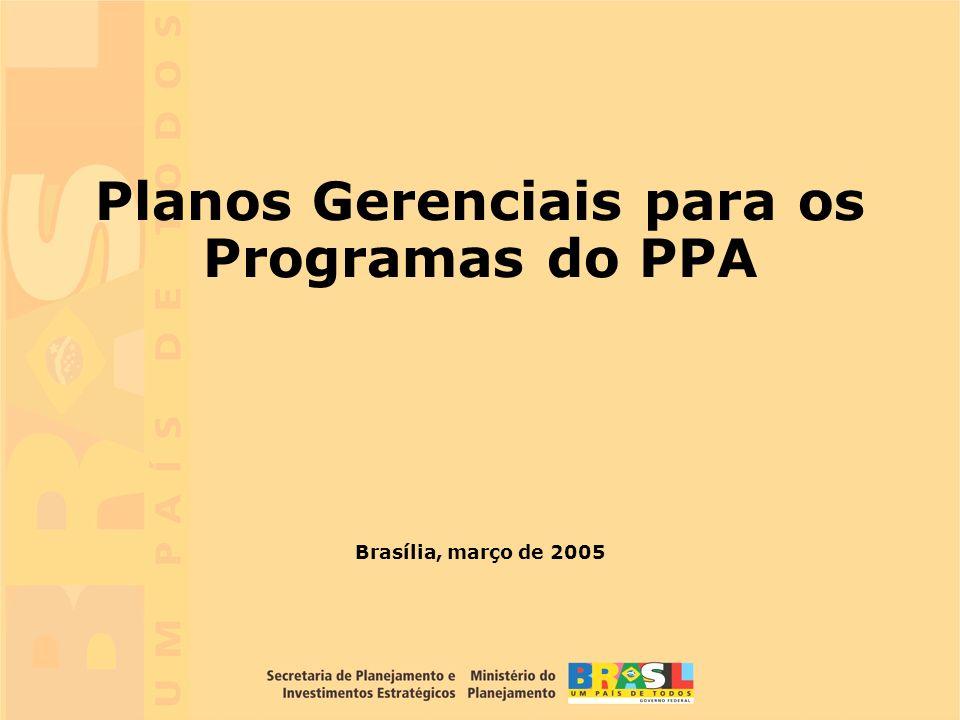 1 Brasília, março de 2005 Planos Gerenciais para os Programas do PPA