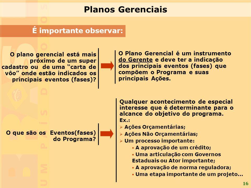16 É importante observar: Planos Gerenciais O plano gerencial está mais próximo de um super cadastro ou de uma carta de vôo onde estão indicados os principais eventos (fases).