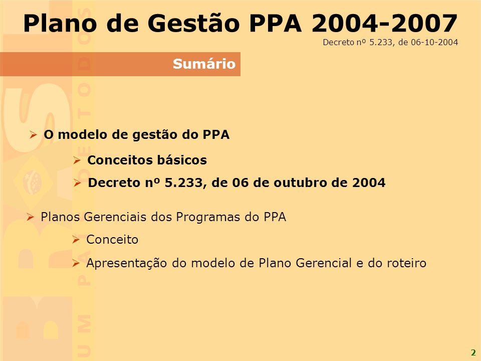 2 Sumário Plano de Gestão PPA 2004-2007 Decreto nº 5.233, de 06-10-2004 O modelo de gestão do PPA Planos Gerenciais dos Programas do PPA Conceito Apresentação do modelo de Plano Gerencial e do roteiro Conceitos básicos Decreto nº 5.233, de 06 de outubro de 2004